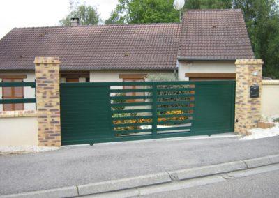 portail ajoure aluminium vert 3