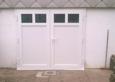 porte de garage battante pvc blanc
