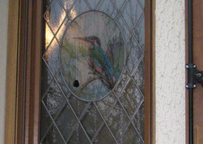fenetre pvc decor chene dore avec vitrage decor vitrail 2