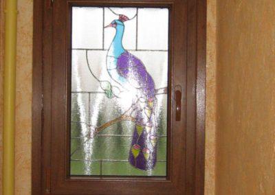 fenetre pvc decor chene dore avec vitrage decor vitrail 3