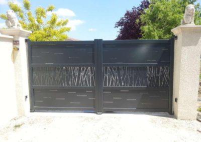 portail aluminium deco gris 1