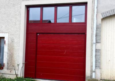 porte de garage sectionnelle rouge 1