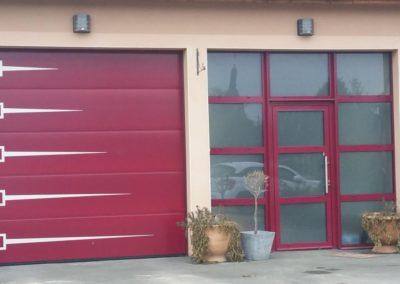 porte de garage sectionnelle rouge 2