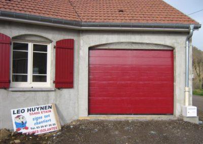 porte de garage sectionnelle rouge 3