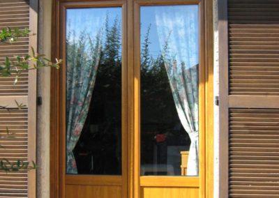 porte fenêtre PVC décor chêne doré monobloc