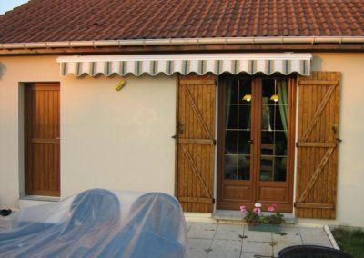 porte fenêtre et porte de service PVC décor chêne doré